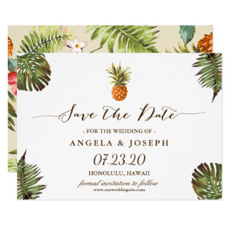Tropical Leaves Pineapple Wedding Save the Date Card
