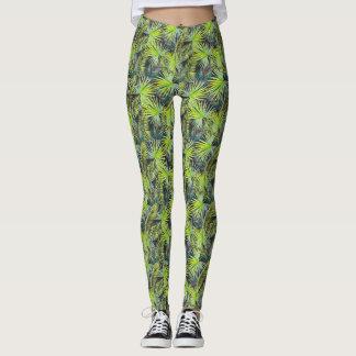 Tropical leaves print leggings