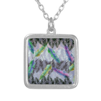 Tropical Leaves Silver Plated Necklace