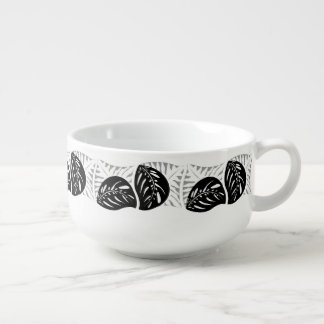 Tropical Leaves Single Tessellations in a Row Soup Mug