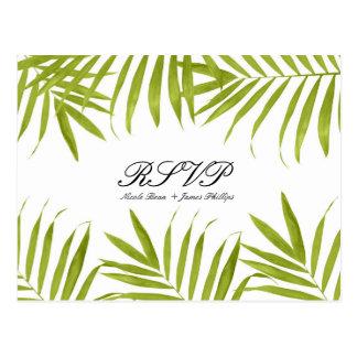 Tropical Leaves Summer Elegant Wedding RSVP Postcard