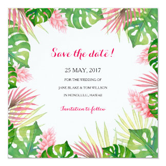 Tropical leaves watercolor SAVE THE DATE card