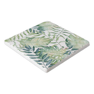 Tropical Leaves Watercolor Trivet