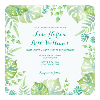 Tropical leaves watercolor wedding invitation