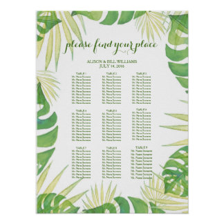 Tropical leaves wedding dinner seating chart poster