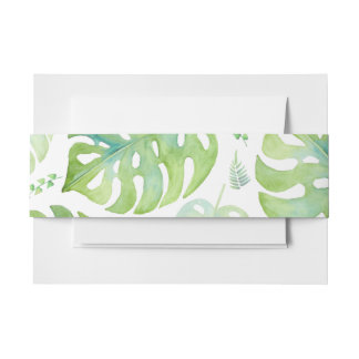 Tropical leaves wedding invitation belly belt invitation belly band