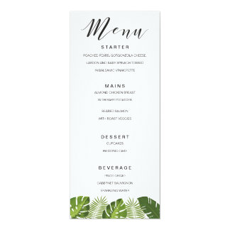 Tropical leaves wedding menu card template