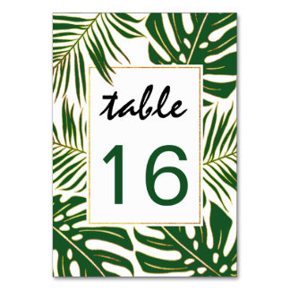 Tropical leaves wedding wedding table number card