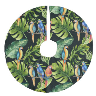 Tropical Leaves with Colorful Parrots  Christmas Faux Linen Tree Skirt