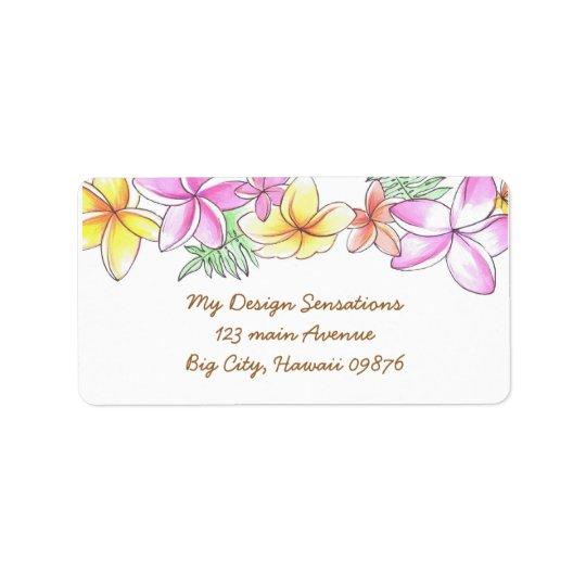 Tropical Lei address label, Plumeria flowers Address Label