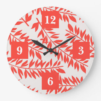 Tropical Letters on Coral with Palm Fronds Large Clock