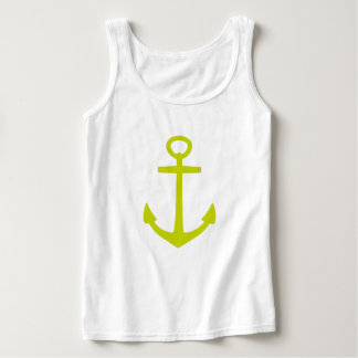Tropical Lime Green Anchor on White Singlet