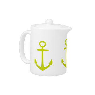 Tropical Lime Green Anchors on White