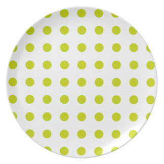 Tropical Lime Polka Dots on White Party Plates