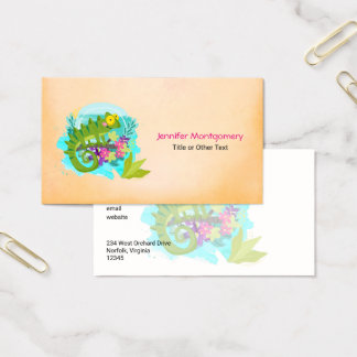 Tropical Lizard with Flowers Business Card