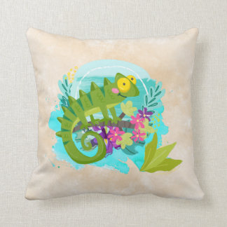 Tropical Lizard with Flowers Cushion