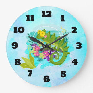 Tropical Lizard with Flowers Large Clock