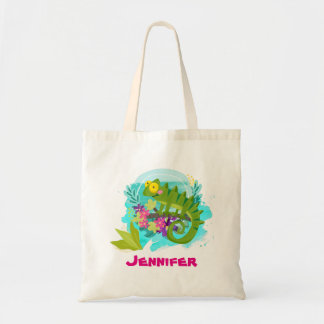 Tropical Lizard with Flowers Personalized Tote Bag