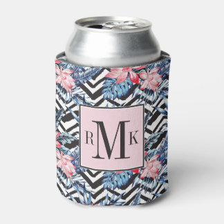 Tropical Lotus Flower Pattern Can Cooler