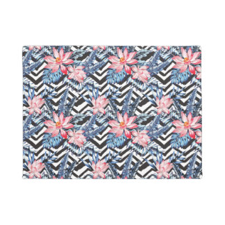 Tropical Lotus Flower Pattern Doormat