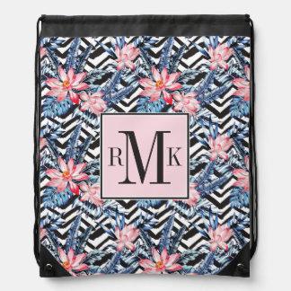 Tropical Lotus Flower Pattern Drawstring Bag