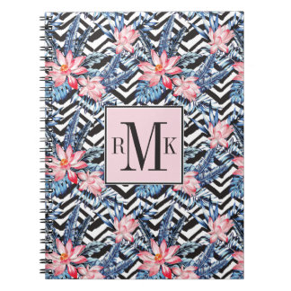 Tropical Lotus Flower Pattern Notebook
