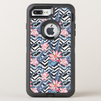 Tropical Lotus Flower Pattern OtterBox Defender iPhone 8 Plus/7 Plus Case