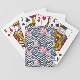 Tropical Lotus Flower Pattern Playing Cards