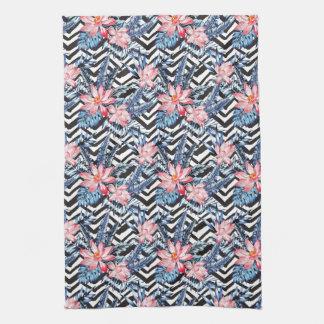 Tropical Lotus Flower Pattern Tea Towel
