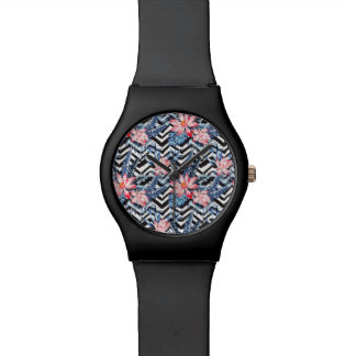 Tropical Lotus Flower Pattern Watch