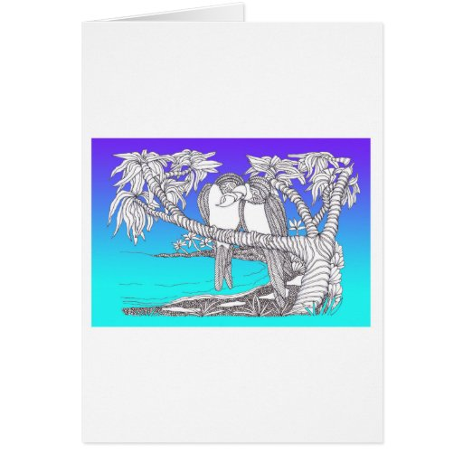 Tropical Love Birds in Paradise Blues Cards