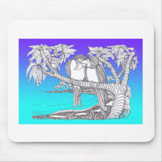 Tropical Love Birds in Paradise Blues Mouse Pads