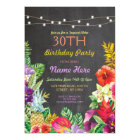 Tropical Luau Aloha Chalk Birthday Party Invite