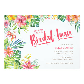 Tropical Luau Watercolor Bridal Shower Invitation