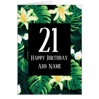 Tropical lush floral card