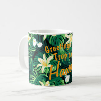Tropical lush floral coffee mug
