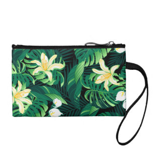 Tropical lush floral coin purse