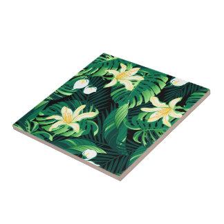 Tropical lush floral tile