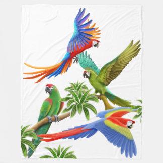 Tropical Macaw Parrots Fleece Blanket
