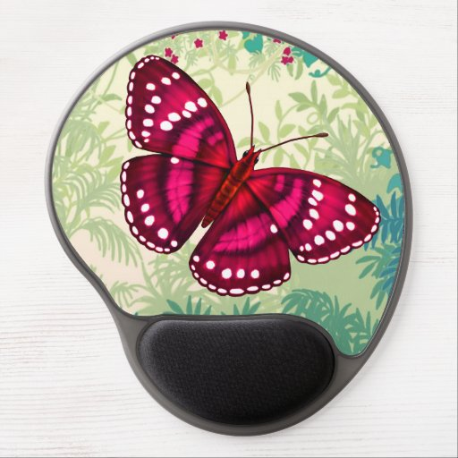Tropical Magenta Pink Butterfly Gel Mousepad