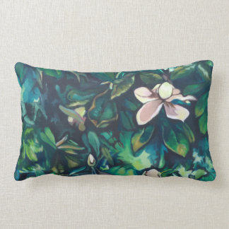 Tropical Magnolia cotton floral lumbar pillow