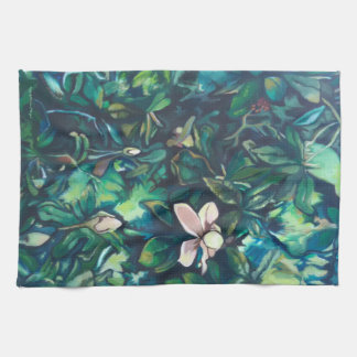 Tropical Magnolia floral kitchen towel