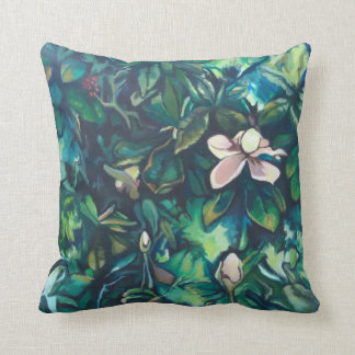 Tropical Magnolia square throw pillow
