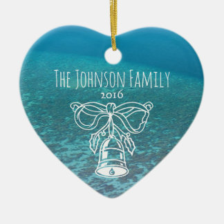 Tropical Maldives Blue Ocean Custom Family Photo Ceramic Ornament