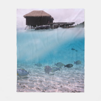 Tropical Maldives Blue Sea Adventures Coral Fish Fleece Blanket