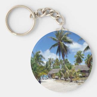 Tropical Maldives Palm Grove Shacks Keychain