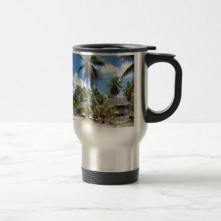 Tropical Maldives Palm Grove Shacks Coffee Mugs