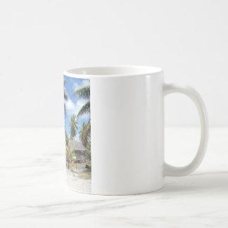 Tropical Maldives Palm Grove Shacks Coffee Mug
