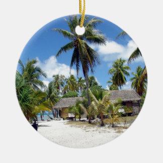 Tropical Maldives Palm Grove Shacks Round Ceramic Decoration