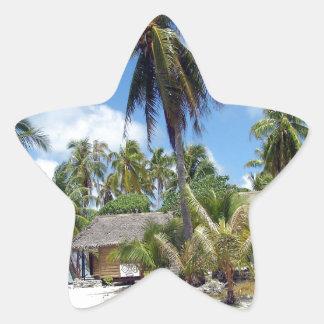 Tropical Maldives Palm Grove Shacks Star Sticker